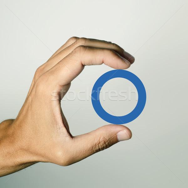 Bleu cercle soutien diabète symbole main Photo stock © nito