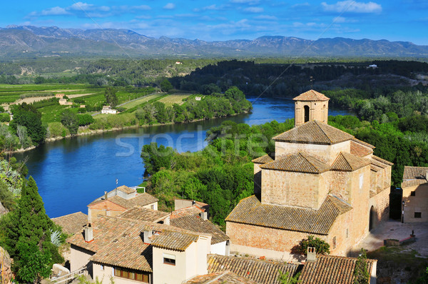 old town of Miravet, Spain, and Ebro River Stock photo © nito