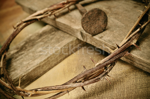 crown of thorns, cross and nail Stock photo © nito