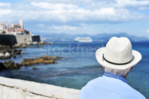 old man looking at the sea in Antibes, France, filtered Stock photo © nito