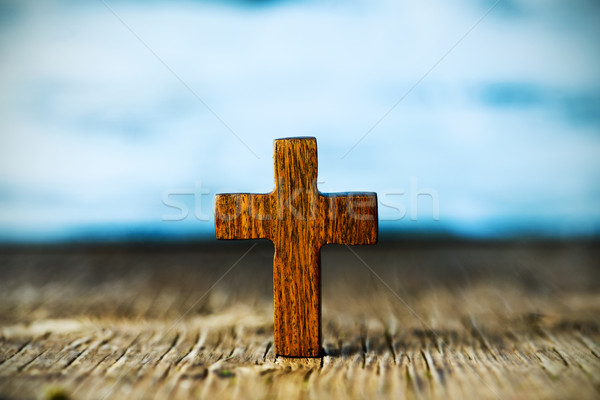 christian cross on a wooden surface Stock photo © nito
