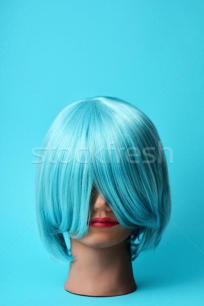Próbababa kék paróka fej haj divat Stock fotó © nito