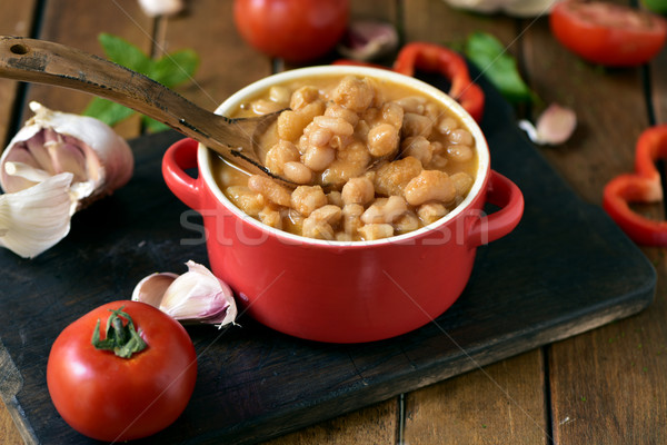 potaje de garbanzos, a spanish chickpeas stew, on a wooden table Stock photo © nito