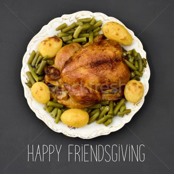 roast turkey and text happy friendsgiving Stock photo © nito