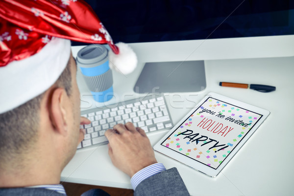 text christmas party you are invited in a tablet Stock photo © nito