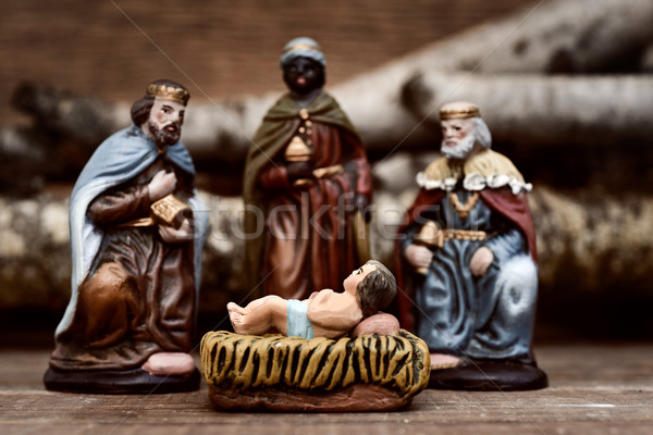 the three kings adoring the Child Jesus Stock photo © nito