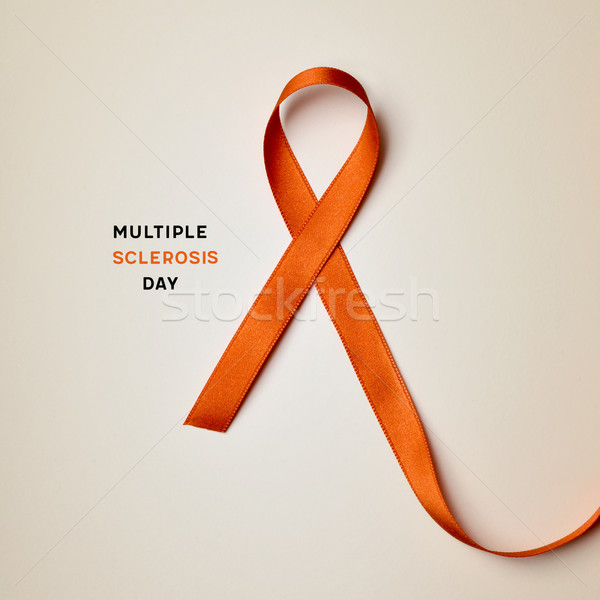 orange ribbon and text multiple sclerosis day Stock photo © nito