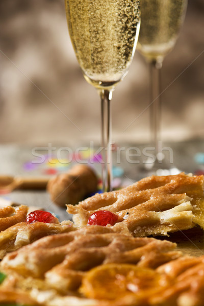 coca de Sant Joan, sweet flat cake from Catalonia, Spain Stock photo © nito