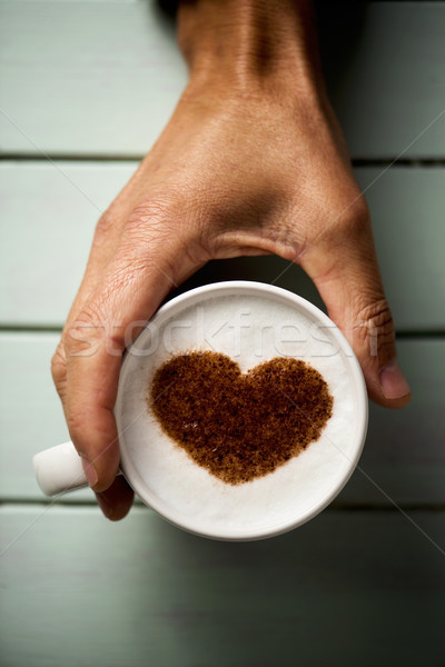 человека Кубок капучино сердце выстрел молодые Сток-фото © nito