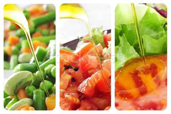 Stok fotoğraf: Kolaj · farklı · zeytinyağı · restoran · salata · sebze
