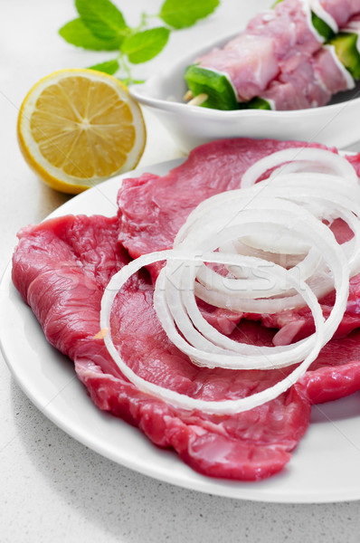 raw beef fillets and chicken meat skewers Stock photo © nito