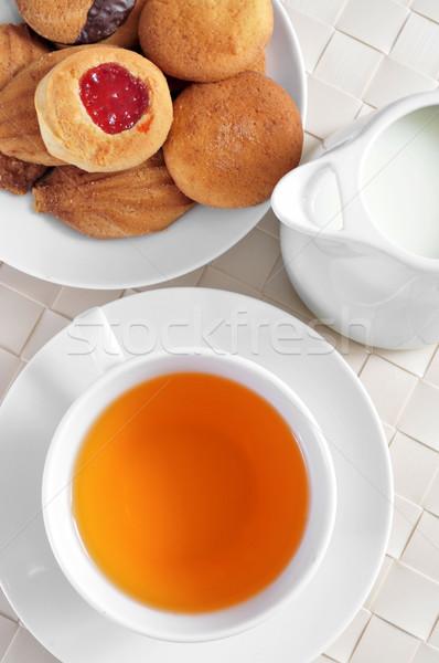 чай Печенье Кубок пластина набор таблице Сток-фото © nito