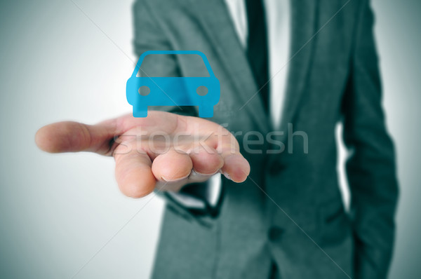 businessman with a car icon Stock photo © nito
