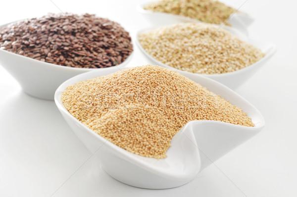 amaranth, brown flax, quinoa and buckwheat seeds Stock photo © nito