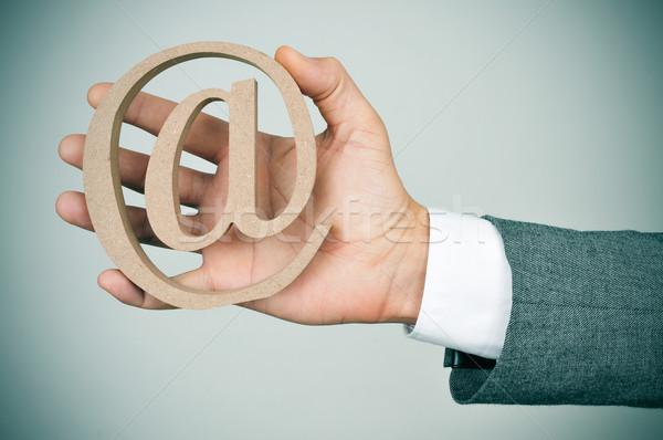 Fiatal üzletember felirat közelkép kéz kaukázusi Stock fotó © nito