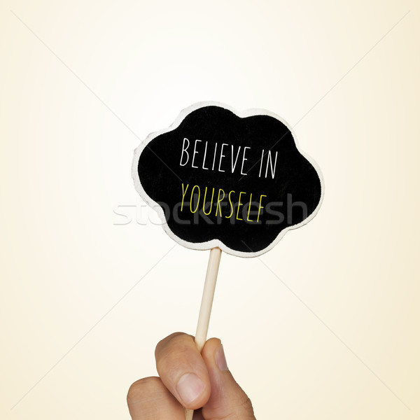 chalkboard with the text believe in yourself Stock photo © nito