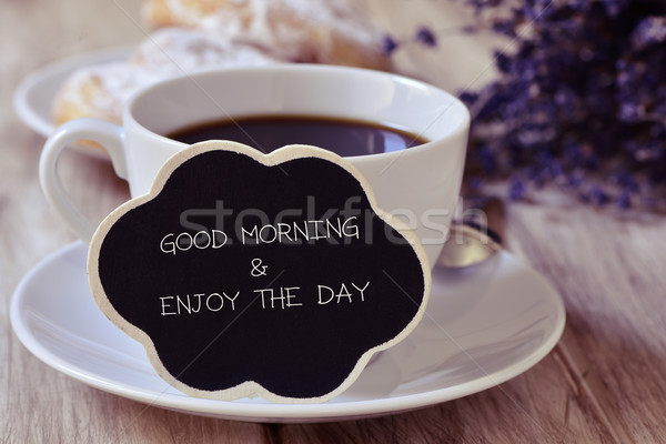 breakfast and text good morning and enjoy the day Stock photo © nito