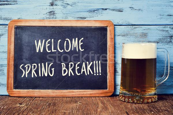 Sör tábla szöveg üdvözlet tavaszi szünet öreg Stock fotó © nito