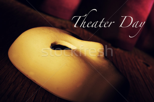 classical mask on a stage and text theater day Stock photo © nito