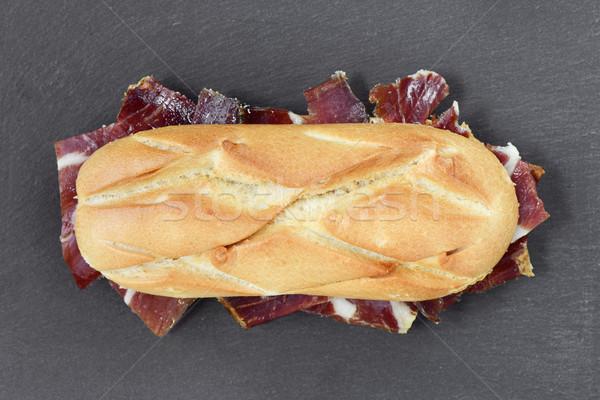 Spaans serrano ham sandwich shot voedsel Stockfoto © nito