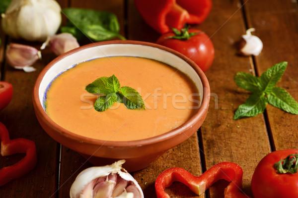 Stock fotó: Spanyol · fa · asztal · tál · zöldségek · paradicsom · piros
