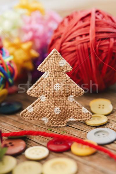 Gezellig christmas ornamenten handgemaakt weefsel Stockfoto © nito