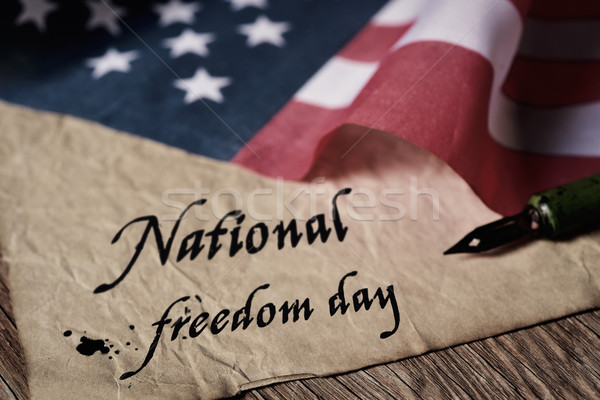 text national freedom day and american flag Stock photo © nito