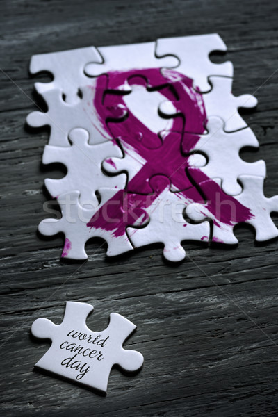 pink ribbon and text world cancer day Stock photo © nito