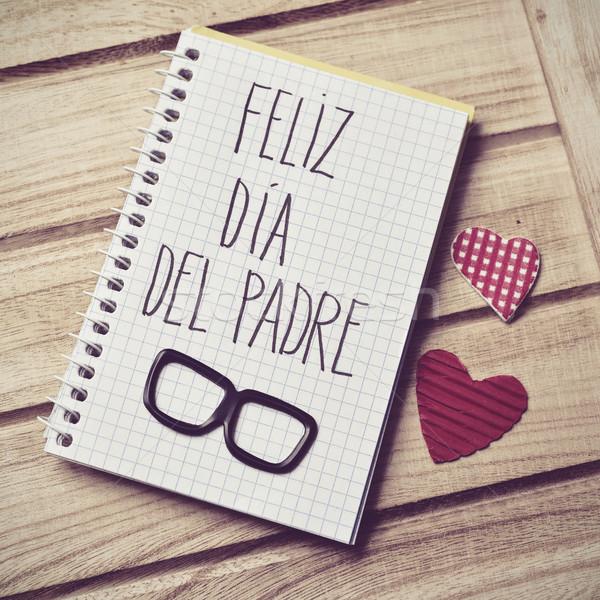 Stock photo: text feliz dia del padre, happy fathers day in Spanish