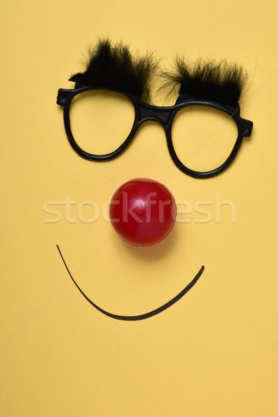 Stok fotoğraf: Komik · yüzü · çift · gözlük · kırmızı · palyaço