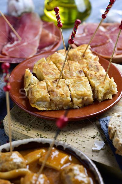 Válogatás spanyol tapas hideg közelkép tányérok Stock fotó © nito