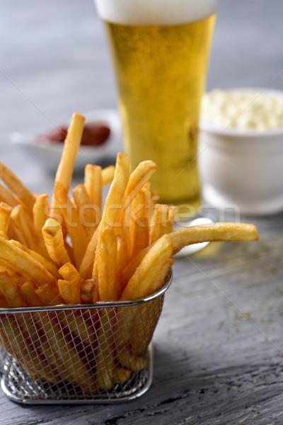 Patatine fritte birra maionese ketchup primo piano appetitoso Foto d'archivio © nito