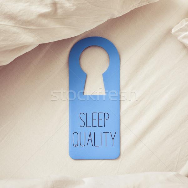 Tekst spać jakości drzwi wieszak Zdjęcia stock © nito