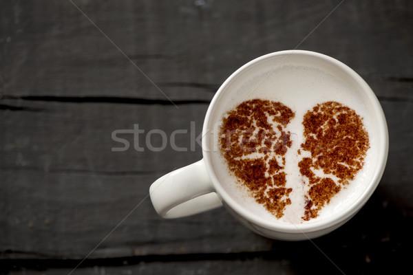 Csésze cappucchino összetört szív lövés fehér kerámia Stock fotó © nito