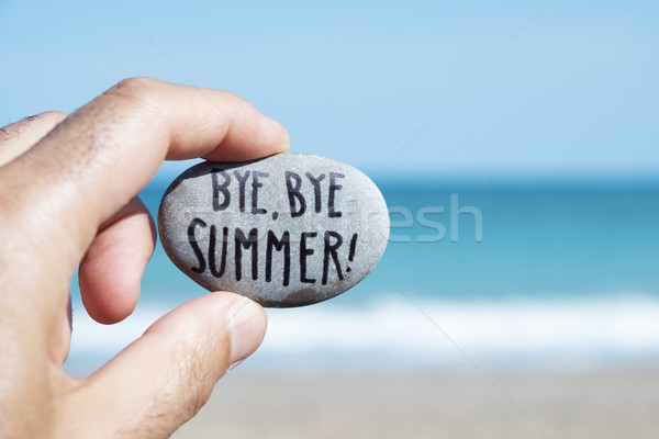 Man strand tekst doei zomer Stockfoto © nito