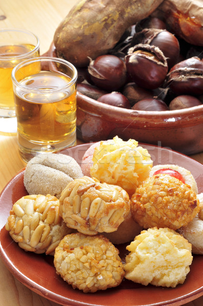 panellets and roasted chestnuts and sweet potatoes, typical snac Stock photo © nito