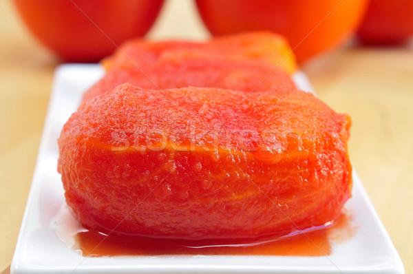 Ganze geschält Tomaten Platte Gesundheit Stock foto © nito