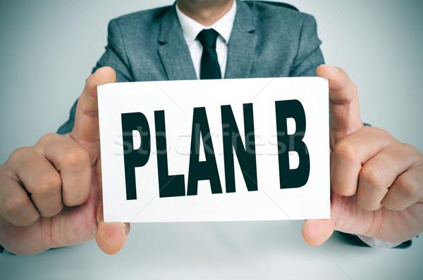 Plan b işadamı oturma büro metin Stok fotoğraf © nito