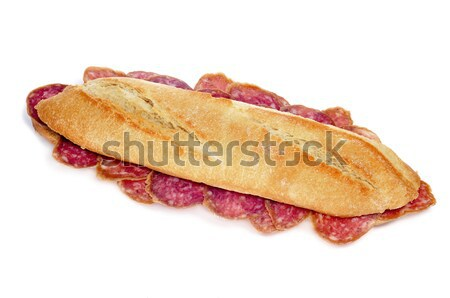 Stockfoto: Spaans · salami · sandwich · witte · voedsel · restaurant
