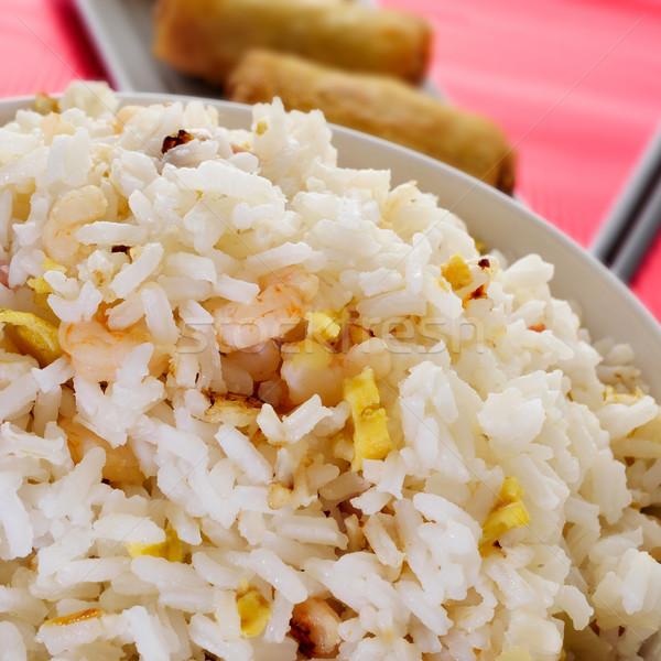 Stock fotó: Kínai · sült · rizs · közelkép · tál · étvágygerjesztő