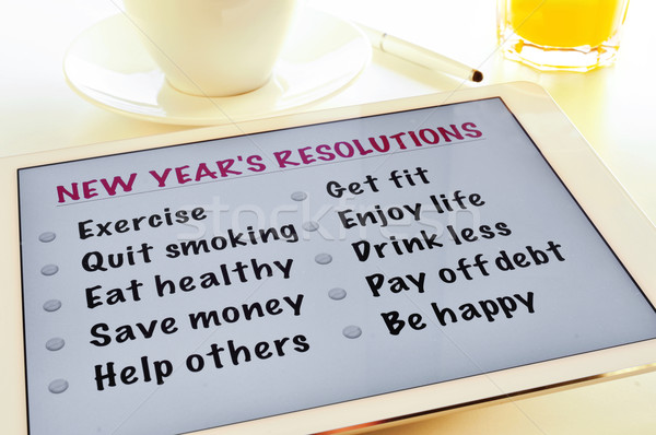 Liste yeni yıl tablet tablo fincan Stok fotoğraf © nito
