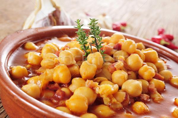 potaje de garbanzos con jamon, spanish chickpeas stew with ham Stock photo © nito