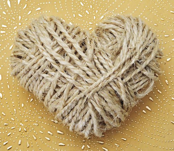 Stock fotó: Kötél · szív · mintázott · szeretet · háttér · felirat