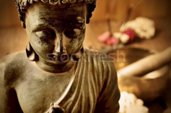 Buddha bloemen aanbidden geschenk vrede Stockfoto © nito