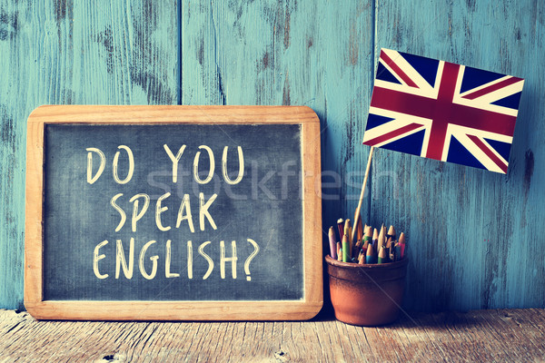 text do you speak english? in a chalkboard, filtered Stock photo © nito