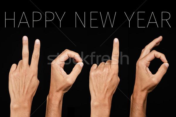 Stok fotoğraf: Metin · happy · new · year · 2016 · adam · eller · numara