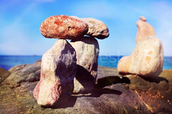 Kiegyensúlyozott kövek sziget Spanyolország közelkép mediterrán Stock fotó © nito