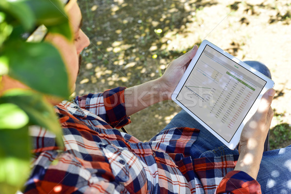 farmer observing some charts in a tablet Stock photo © nito