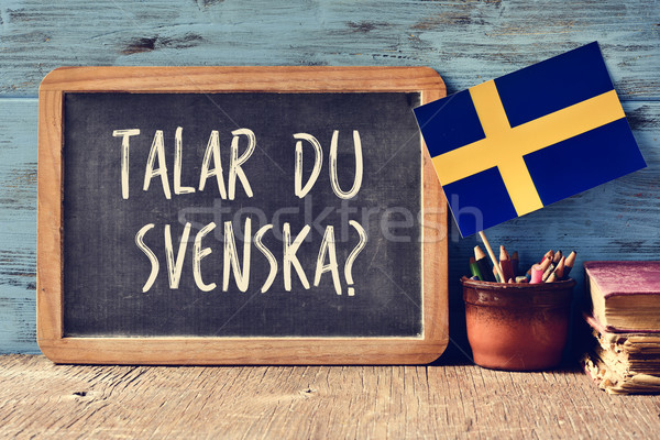 question do you speak Swedish? written in Swedish Stock photo © nito
