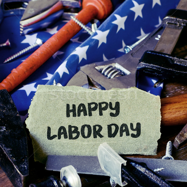 tools, American flag and text happy labor day Stock photo © nito